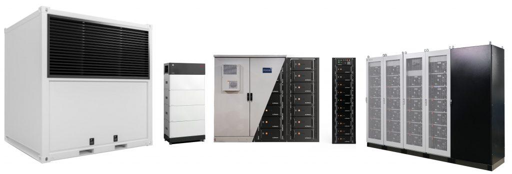 Produktsortiment der FENECON mit Industrial, Heimspeicher und Gewerbespeichern.