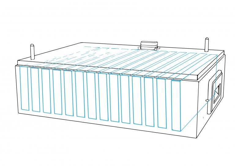 Anschauliche Grafik Aufbau Batteriemodule des neuen FENECON Home Heimspeichers